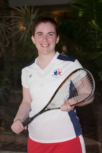 younger Sarah Odell in a squash uniform