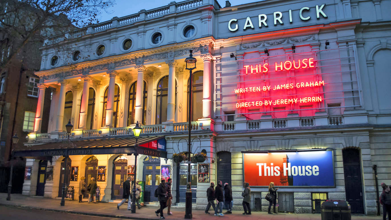 Garrick Theater in the evening.