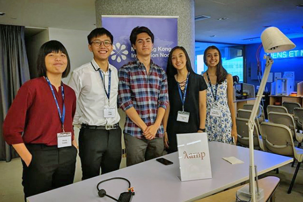 Anna Yung, Chris Law, Justin Psaris, Joy Liu and Claudia Sanchez with their prototype.