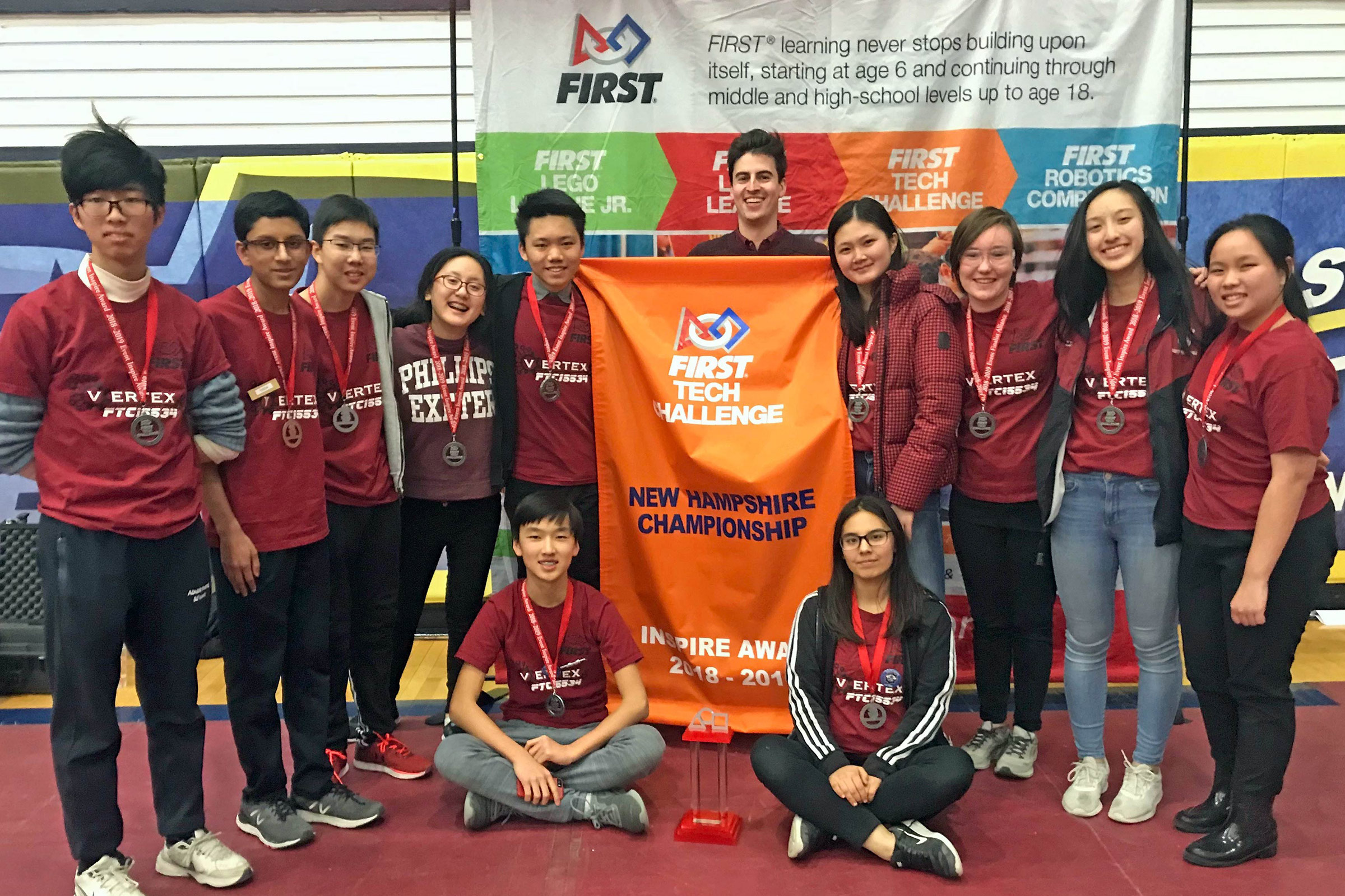 "PEA's FIRST Tech Challenge robotics team at the state championships, where they won the ""Inspire"" award. The team will compete at the worlds in late April 2019."