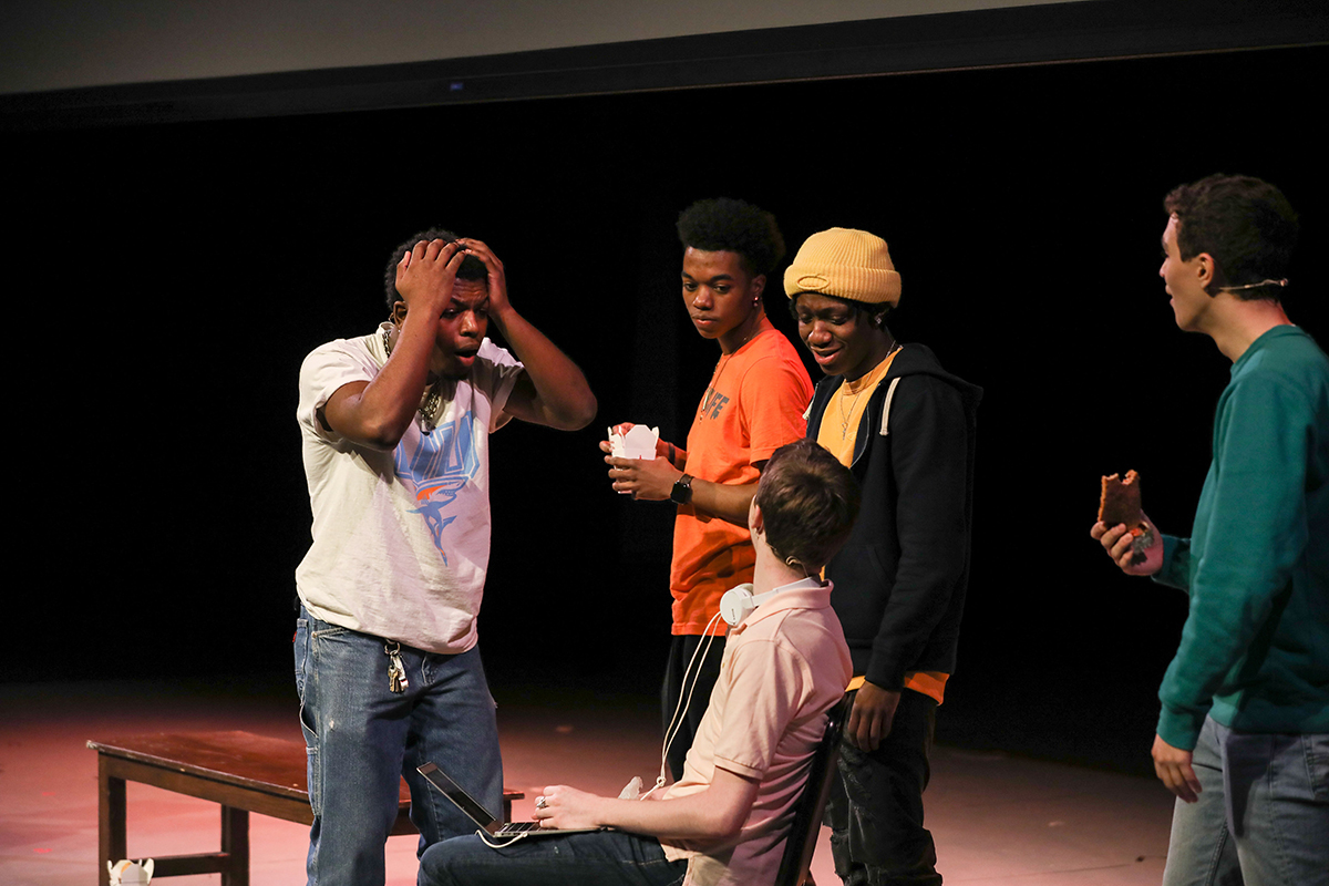 "Actors perform ""Now That We're Men"" on Goel Center MainStage"