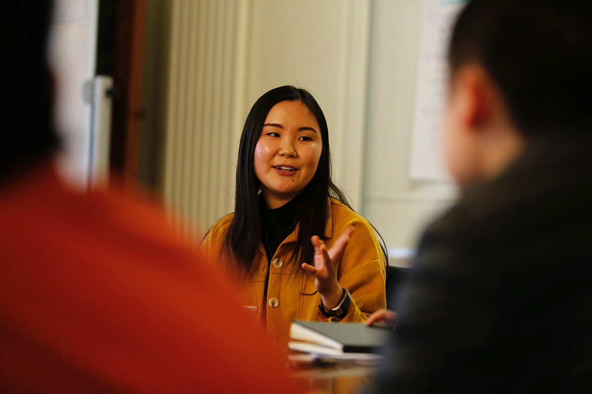 Julie Chung '16 leads a discussion during the MLK Day 2019 observances.