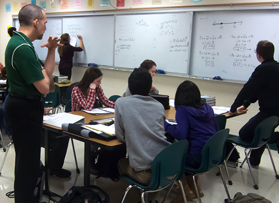 A math class at William Mason High School, in Mason OH.