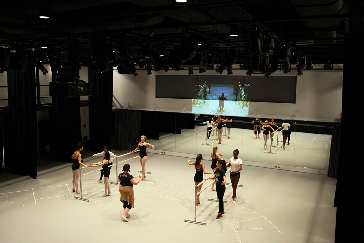 Dance studio in The Goel Center for Theater and Dance.