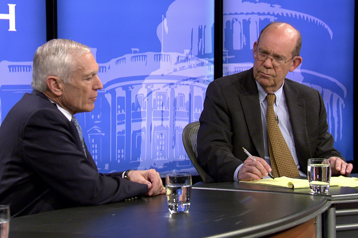 "David Eisenhower '66 interviews retired Gen. Wesley Clark on ""The Whole Truth."""