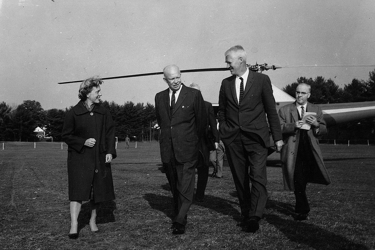 President Dwight D. Eisenhower walks with Principal William G. Saltonstall and his wife, Katharyn, during a visit to Exeter in 1962.