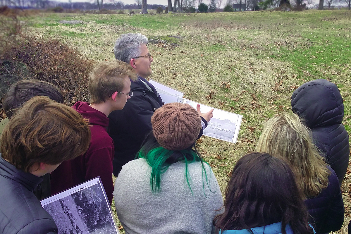 Professor Peter Carmichael, who teaches at Gettysburg College and directs the Civil War Institute, gives the Exonians a tour of the Gettysburg battlefield.