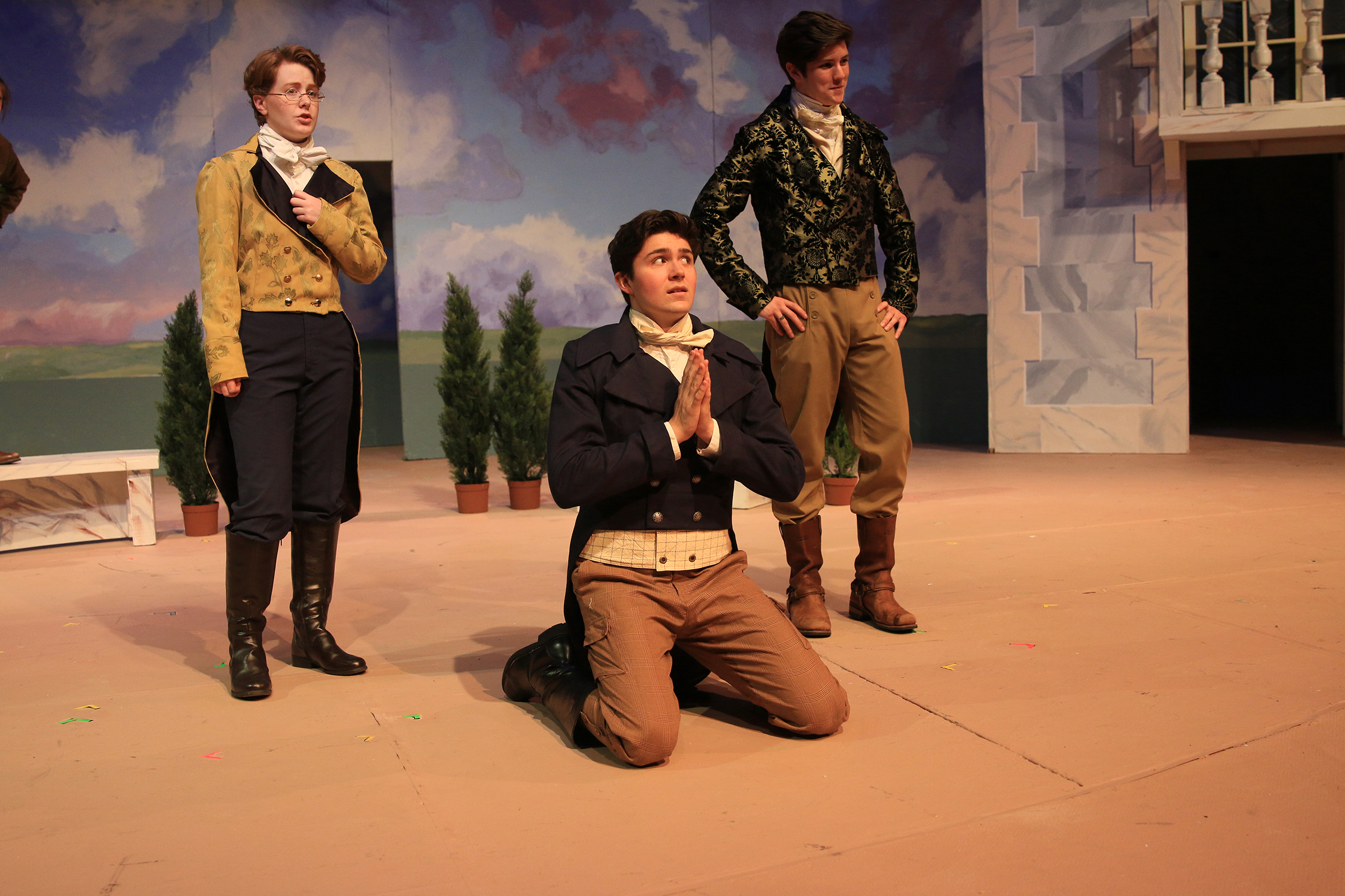 "From left, Aiyana Brough (Leonato), Harry Fitzgerald (Claudio) and Cody Nunn (Don Pedro) in Shakespeare's ""Much Ado About Nothing."""