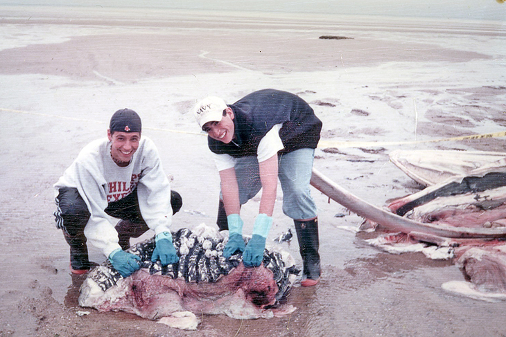 Freddy Kullman and Reed Macy remove flesh and fat from the whale carcass