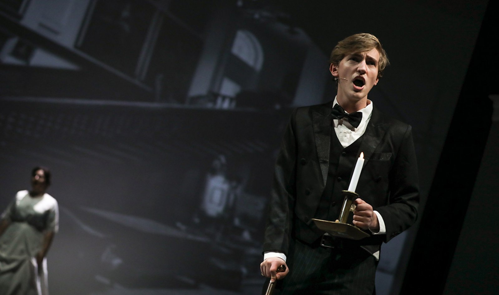 Oliver on stage in the Goel Center for Theater and Dance
