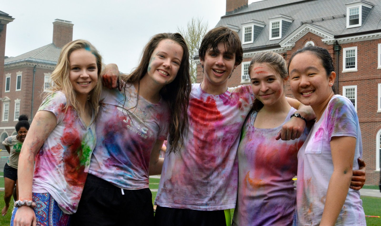 Students gather on Wetherell quad to celebrate the Hindu festival of Holi.