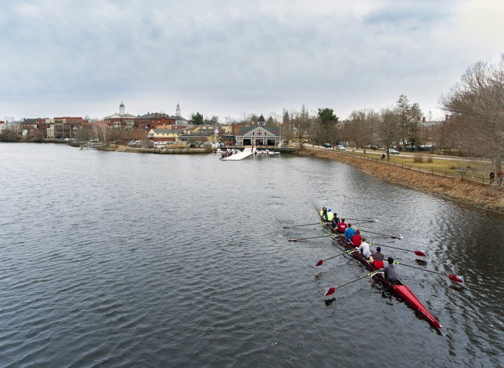 Exeter crew hits the Squamscott River for early-season training.