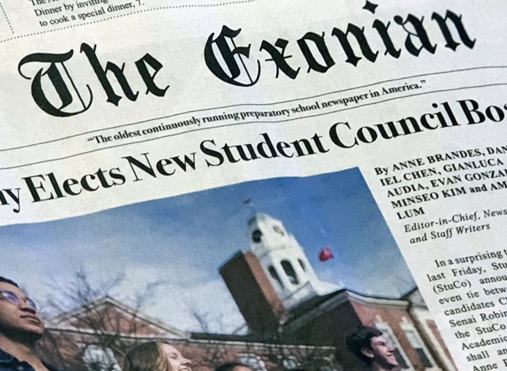 The front page of the newly redesigned Exonian