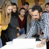 Philip Andelman with film students at Phillips Exeter Academy.