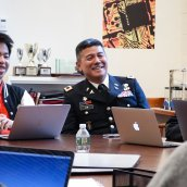Combat Surgeon Colonel Robert Lim '87 in a Computer Science class at Exeter.