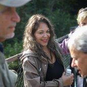 Sandra Guzman chats with her fellow birding society members