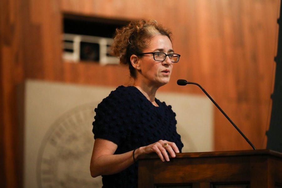 Exeter alumna Julie Livingston speaks at assembly