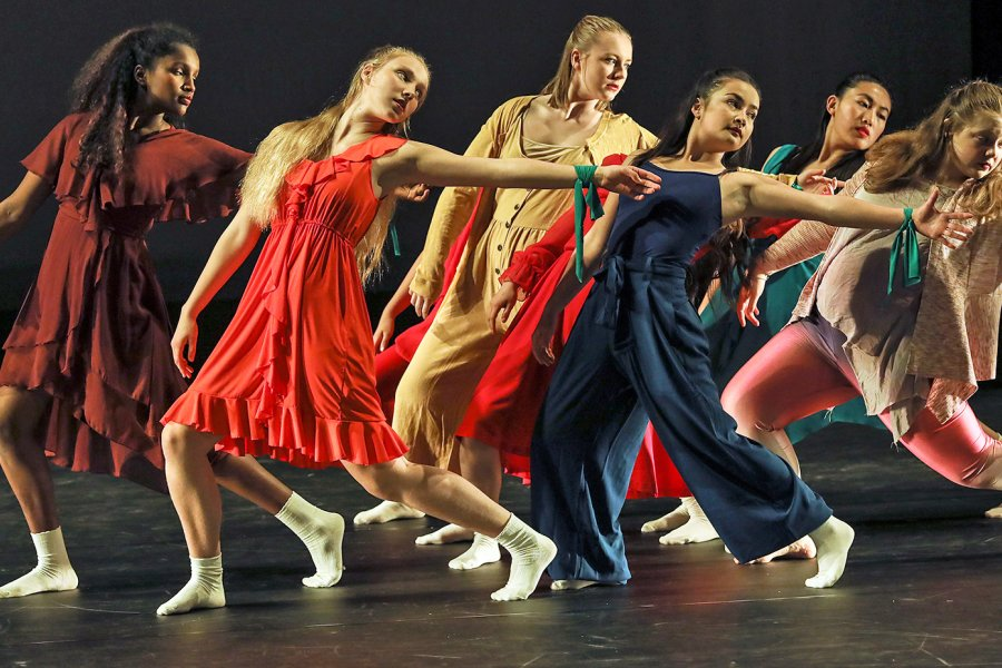 Exeter students performing a dance routine