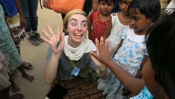 Exeter student with young children in India