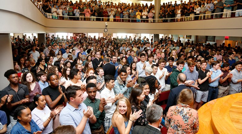 Exeter students gathered in Assembly Hall