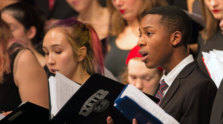 Exeter students singing at the annual Holiday Concert