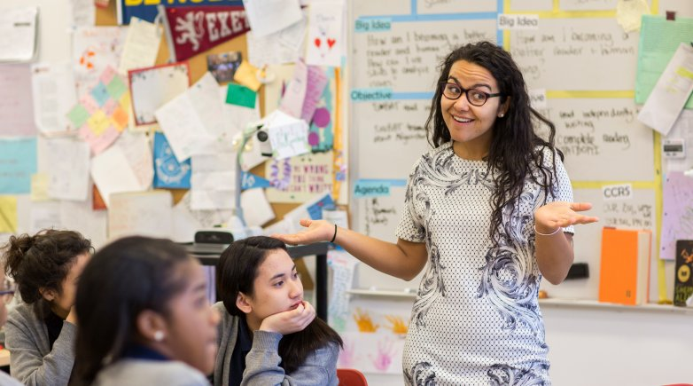 Exeter graduate Aida Conroy in her classroom