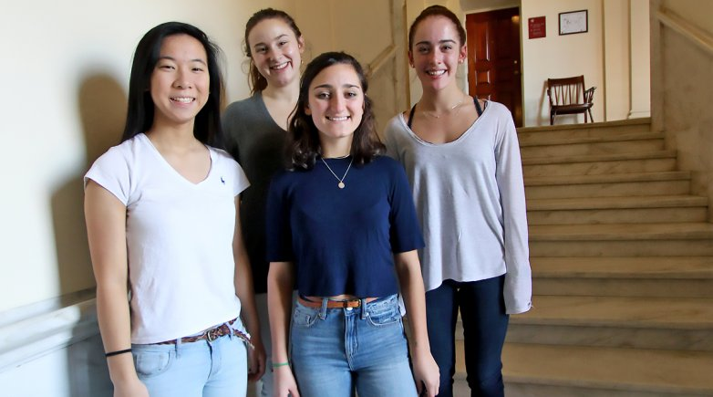 Social innovation students Melissa Lu, Maya Pierce, Kat Cucullo and Joanna Papadakis at Exeter