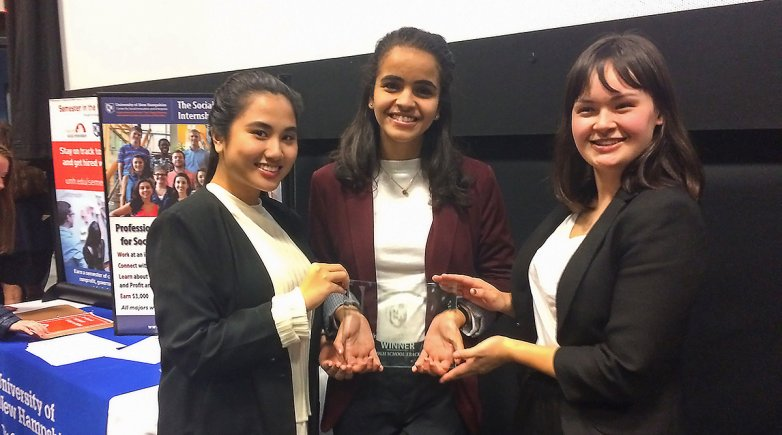 Magisha Thohir, Menat Bahnasy, and Maya Kim after receiving their first place trophy.