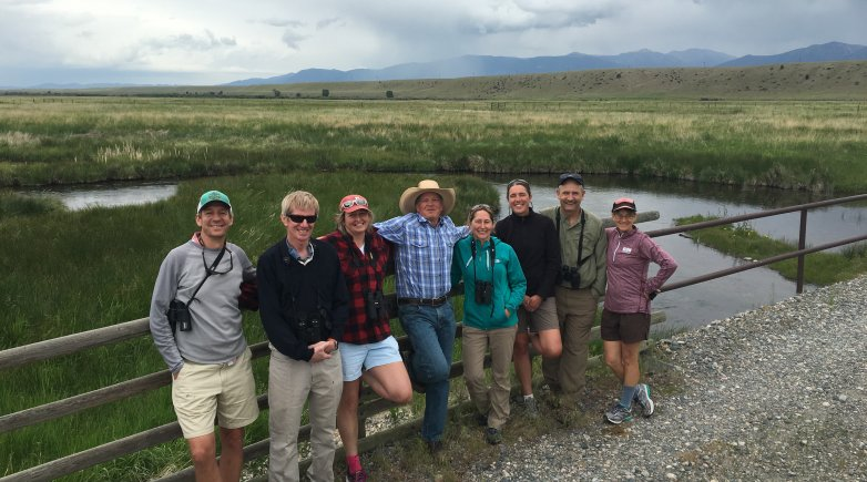 On his Montana ranch, Jeff Laszlo '74 (center, cowboy hat) hosts PEA science instructors (left to right) Erik Janicki, Townley Chisholm, Betsy Stevens, Michele Chapman, Anne Rankin '92, Chris Matlack and Sydnee Goddard.