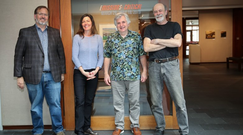 Work by Evan Anderman '83 (from left), Lucinda Bliss, Jim Sardonis '69 and Tom Hall is on exhibit through May 18.