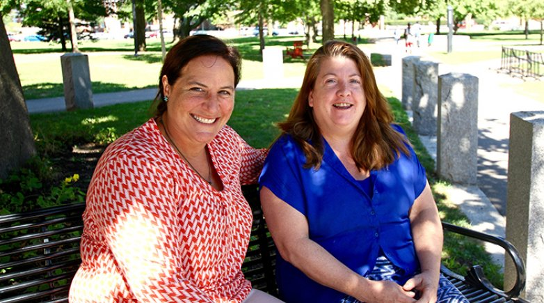 dining services manager Heidi Dumont and director of dining services Melinda Leonard at Exeter