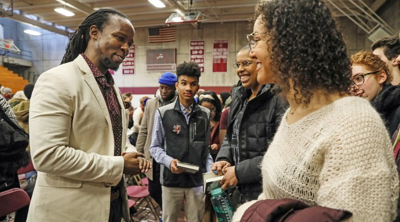 Keynote speaker Ibram X. Kendi speaks to Exeter students.