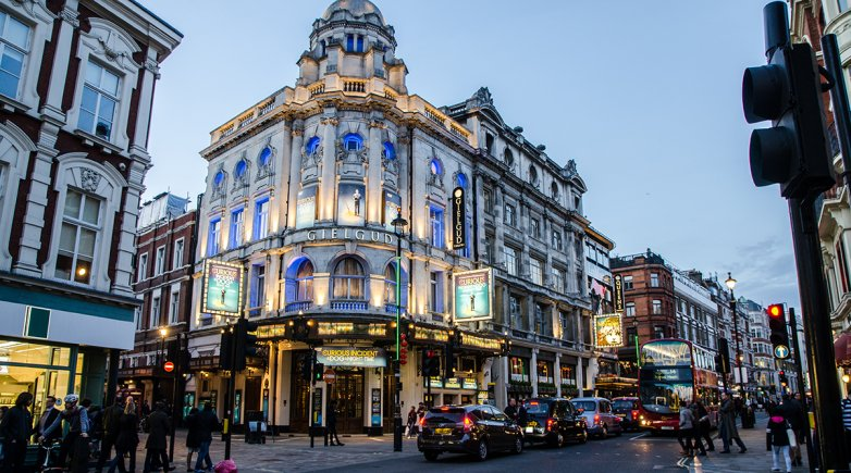 A street view of the theater district in the London's West End.