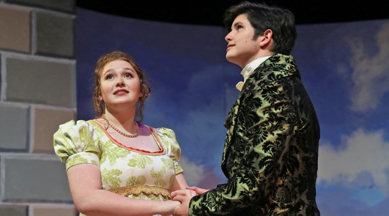 Daisy Tichenor as Beatrice and Cody Nunn as Don Pedro.