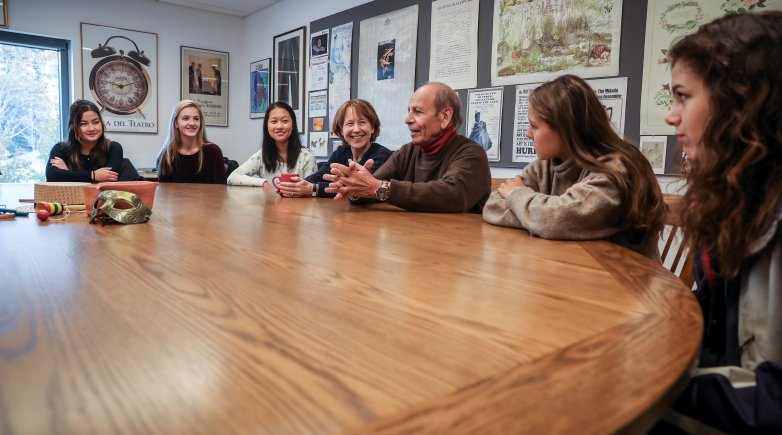 "Joseph Nadeau '55 meets with Theater Instructor Sarah Ream '72 and current students who contributed to his collection of essays, ""I Can Still See It Now."""