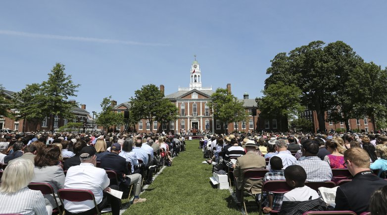 The lawn of the Academy Building at Phillips Exeter Academy on graduation day.