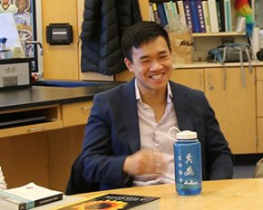 Jason Kang in a PEA science classroom.