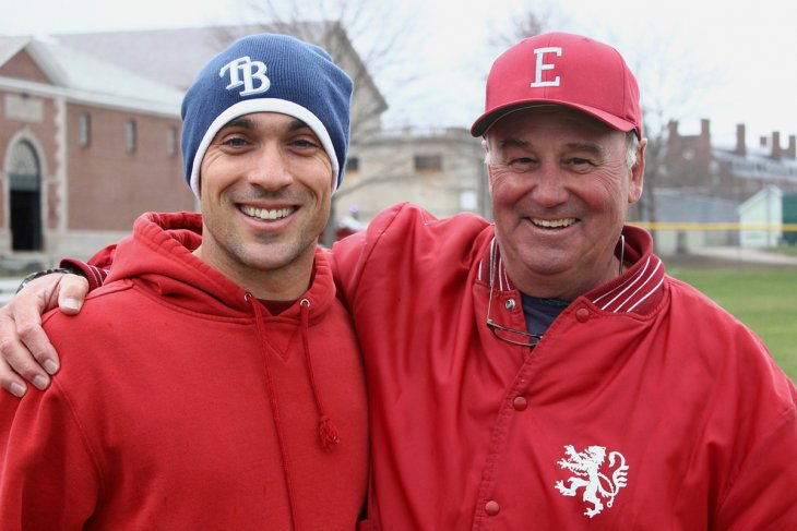 Bill Dennehy with former player and current MLB outfielder Sam Fuld.