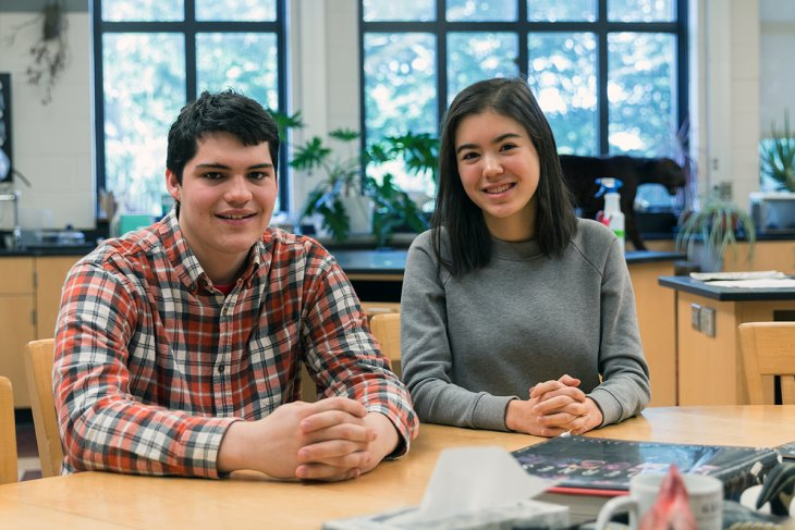 Emily Gaw and Alexander Kish in a lab at Exeter.