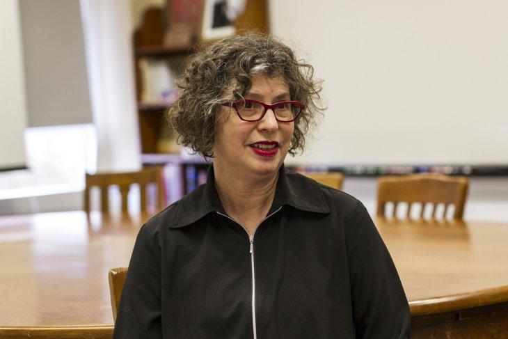 Ellen Oliensis in a Harkness classroom.