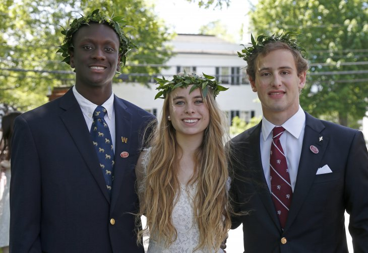 Classics scholars Kofi Ansong, Lyle Seeligson and Bliss Perry, class of 2017