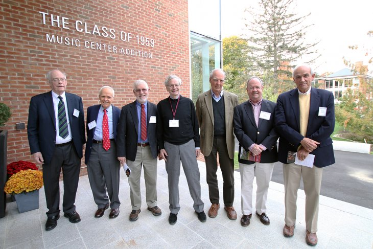 Leonard Egan center with fellow 1959 classmates and donors.