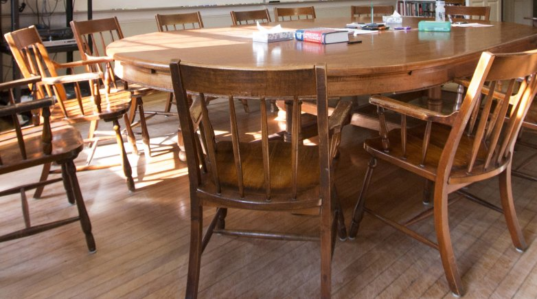 A Harkness table and chairs.