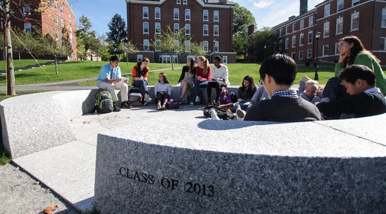 Exeter students in outdoor classroom.